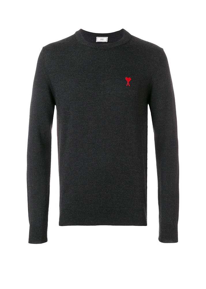 AMI 18FW Hart Logo  Wool Knit [Charcoal Grey]
